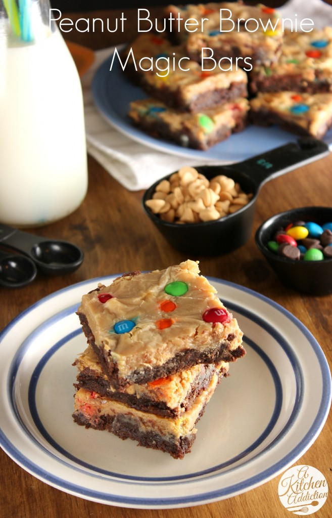 Peanut Butter Brownie Magic Bars #OXOGoodBrownie l www.a-kitchen-addiction.com
