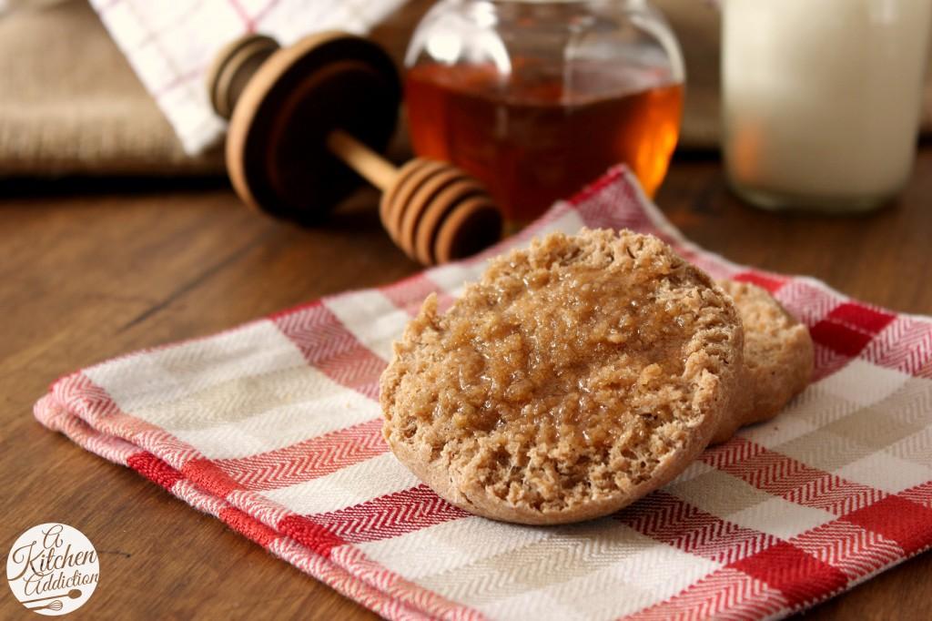 Pumpkin Spice Whole Wheat English Muffins l www.a-kitchen-addiction.com