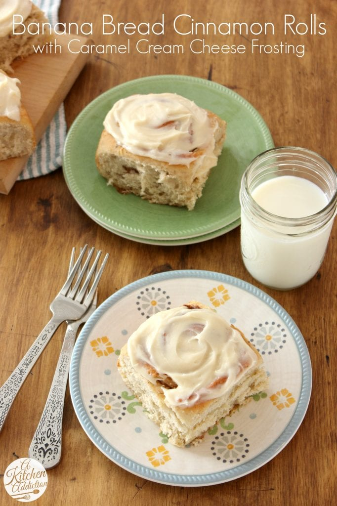 Banana Bread Cinnamon Rolls with Caramel Cream Cheese Frosting l www.a-kitchen-addiction.com