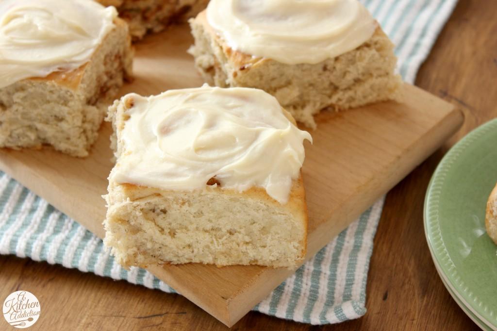 Banana Bread Cinnamon Rolls with Caramel Cream Cheese Frosting l www.a-kitchen-addiction.com