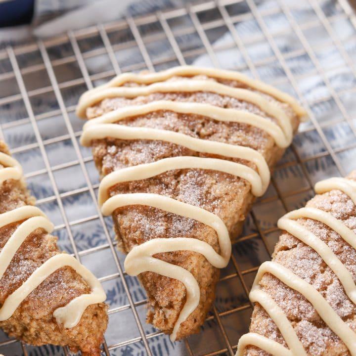 Easy Glazed Banana Bread Scones Recipe from A Kitchen Addiction