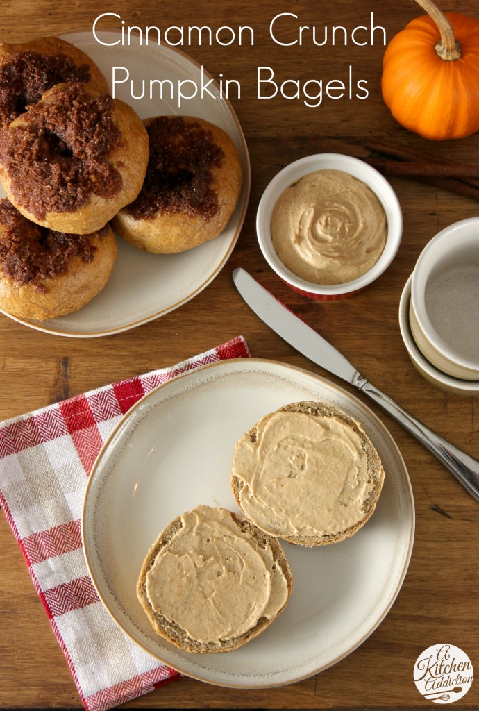 Cinnamon Crunch Pumpkin Bagels with Whipped Pumpkin Pie Cream Cheese Recipe l www.a-kitchen-addiction.com