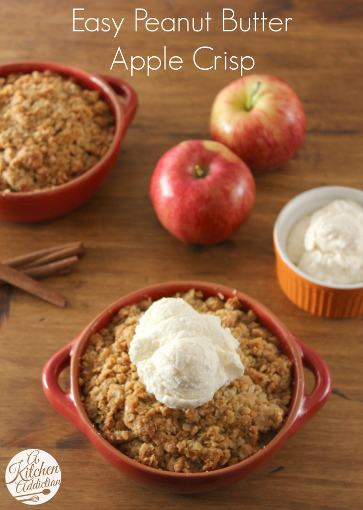 Easy Peanut Butter Apple Crisp Recipe l www.a-kitchen-addiction.com