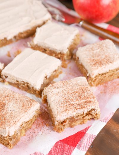 Frosted Apple Blondies Recipe from A Kitchen Addiction