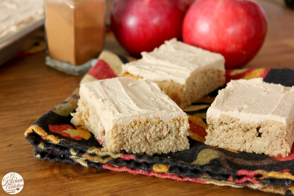 Frosted Apple Blondies Recipe l www.a-kitchen-addiction.com