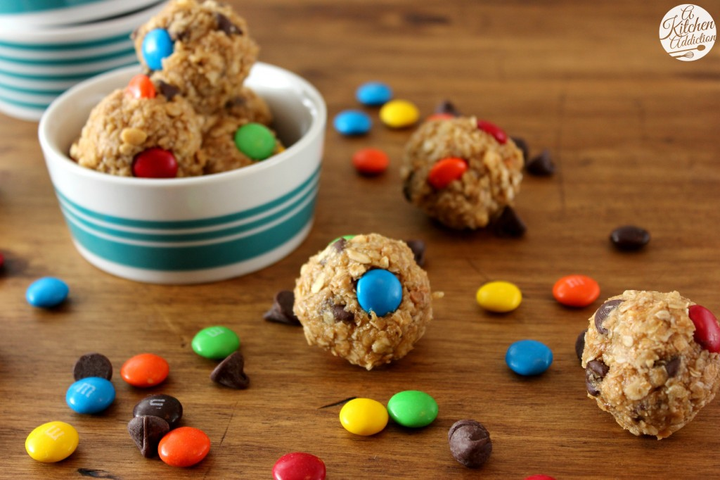 Monster Cookie Granola Bites Recipe l www.a-kitchen-addiction.com