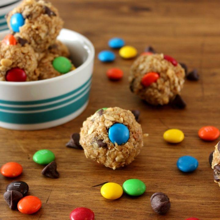 Monster Cookie Granola Bites Recipe l www.a-kitchen-addiction.com