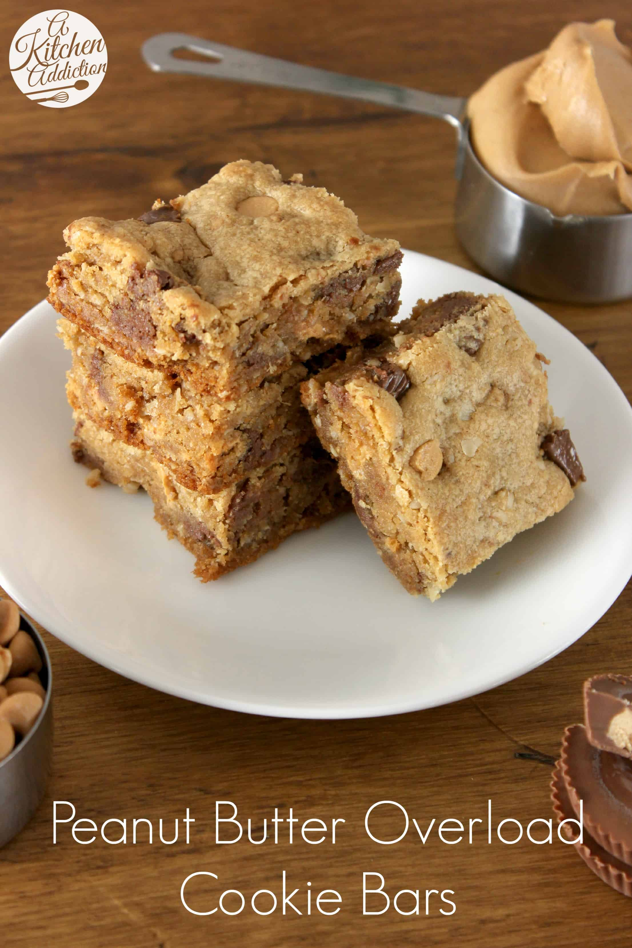 Peanut Butter Overload Cookie Bars Recipe l www.a-kitchen-addiction ...