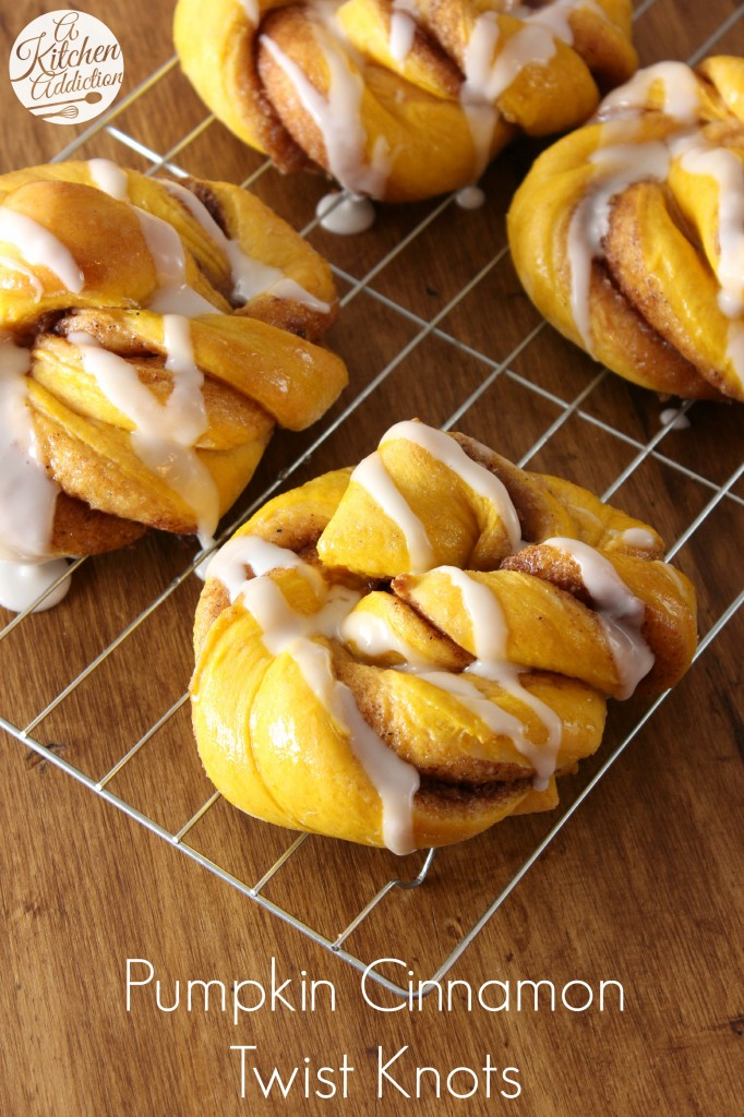 Pumpkin Cinnamon Twist Knots Recipe l www.a-kitchen-addiction.com