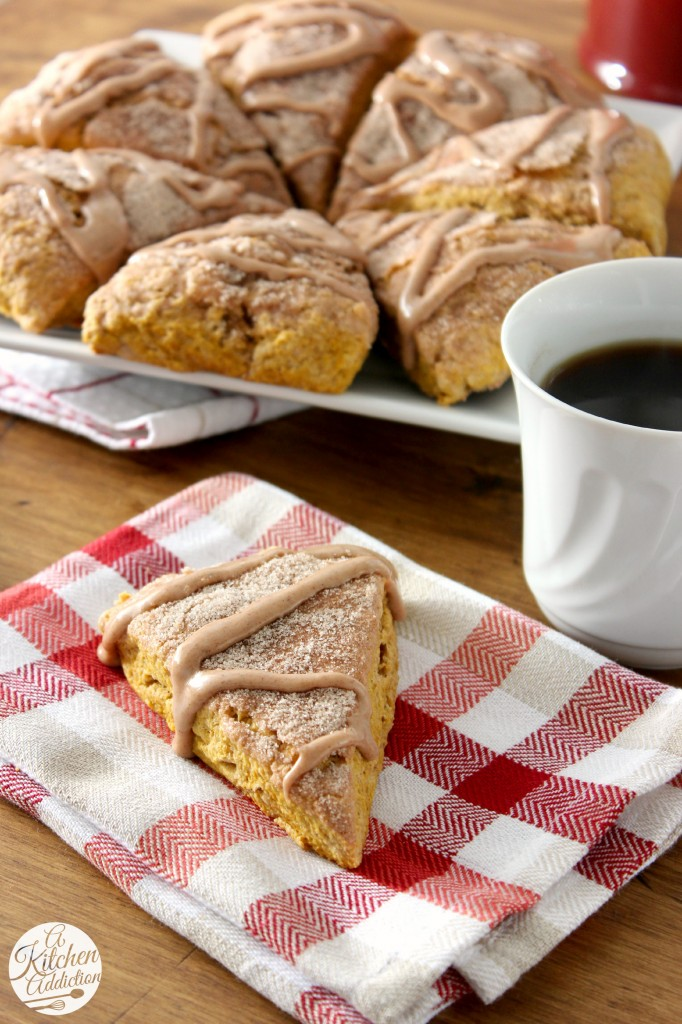 Pumpkin Snickerdoodle Scones Recipe l www.a-kitchen-addiction.com