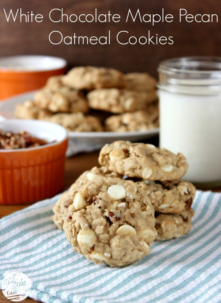 White Chocolate Maple Pecan Oatmeal Cookies Recipe l www.a-kitchen-addiction.com