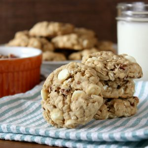 White Chocolate Maple Pecan Oatmeal Cookies