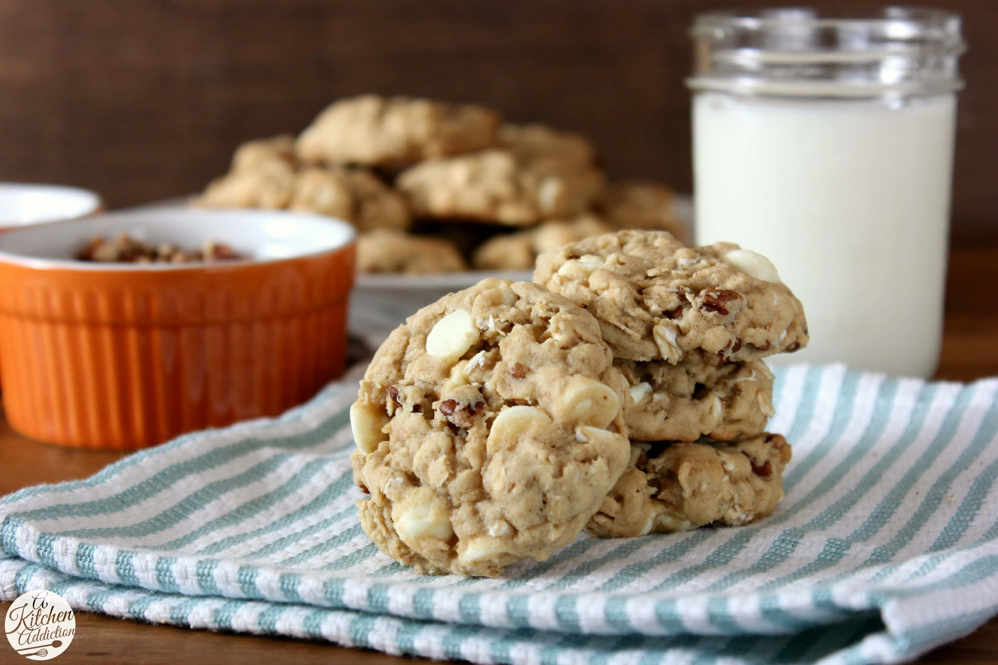 White Chocolate Maple Pecan Oatmeal Cookies - A Kitchen ...