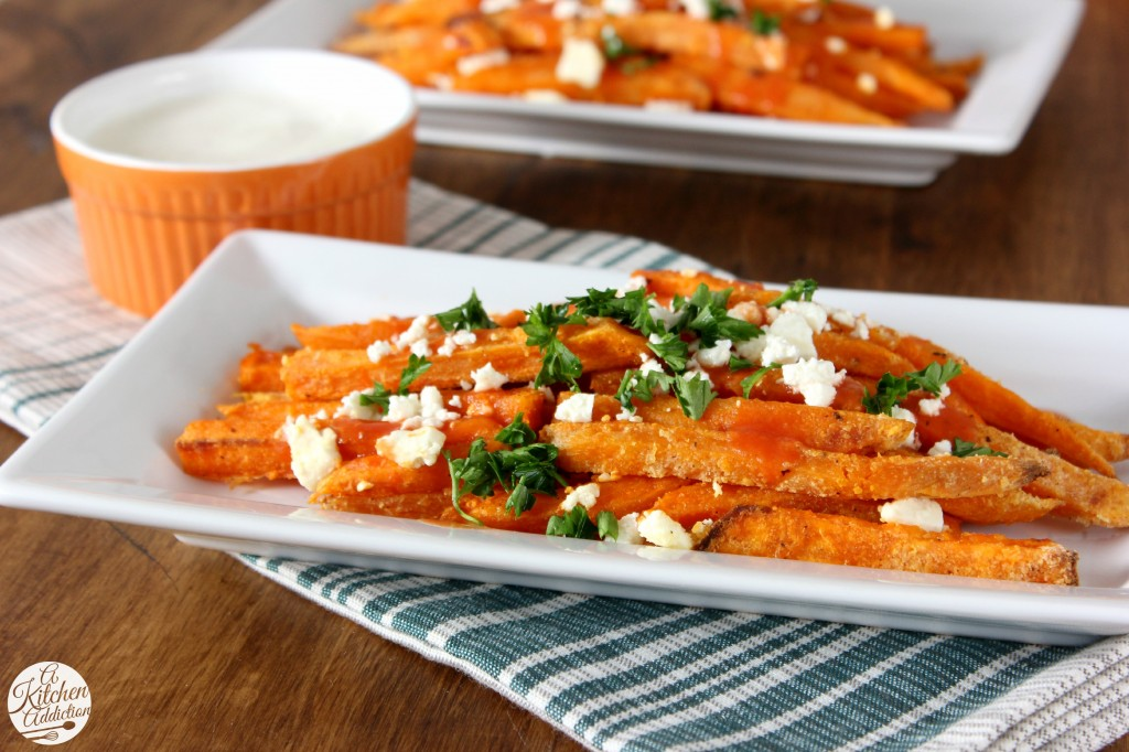 Buffalo Sweet Potato Fries Recipe l www.a-kitchen-addiction.com