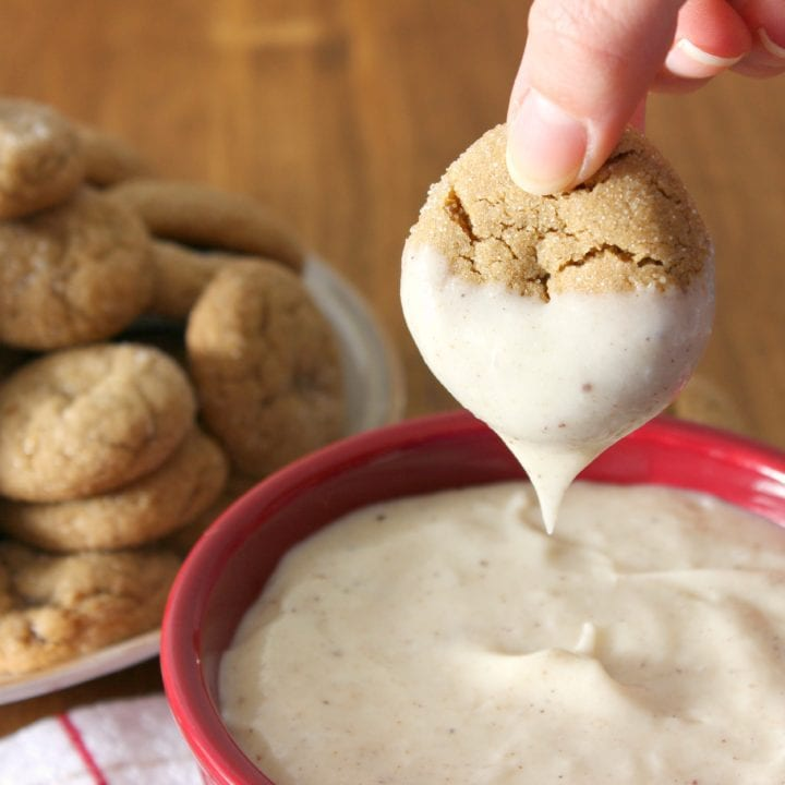 Soft Baked Ginger Cookies with Eggnog Cheesecake Dip Recipe l www.a-kitchen-addiction.com