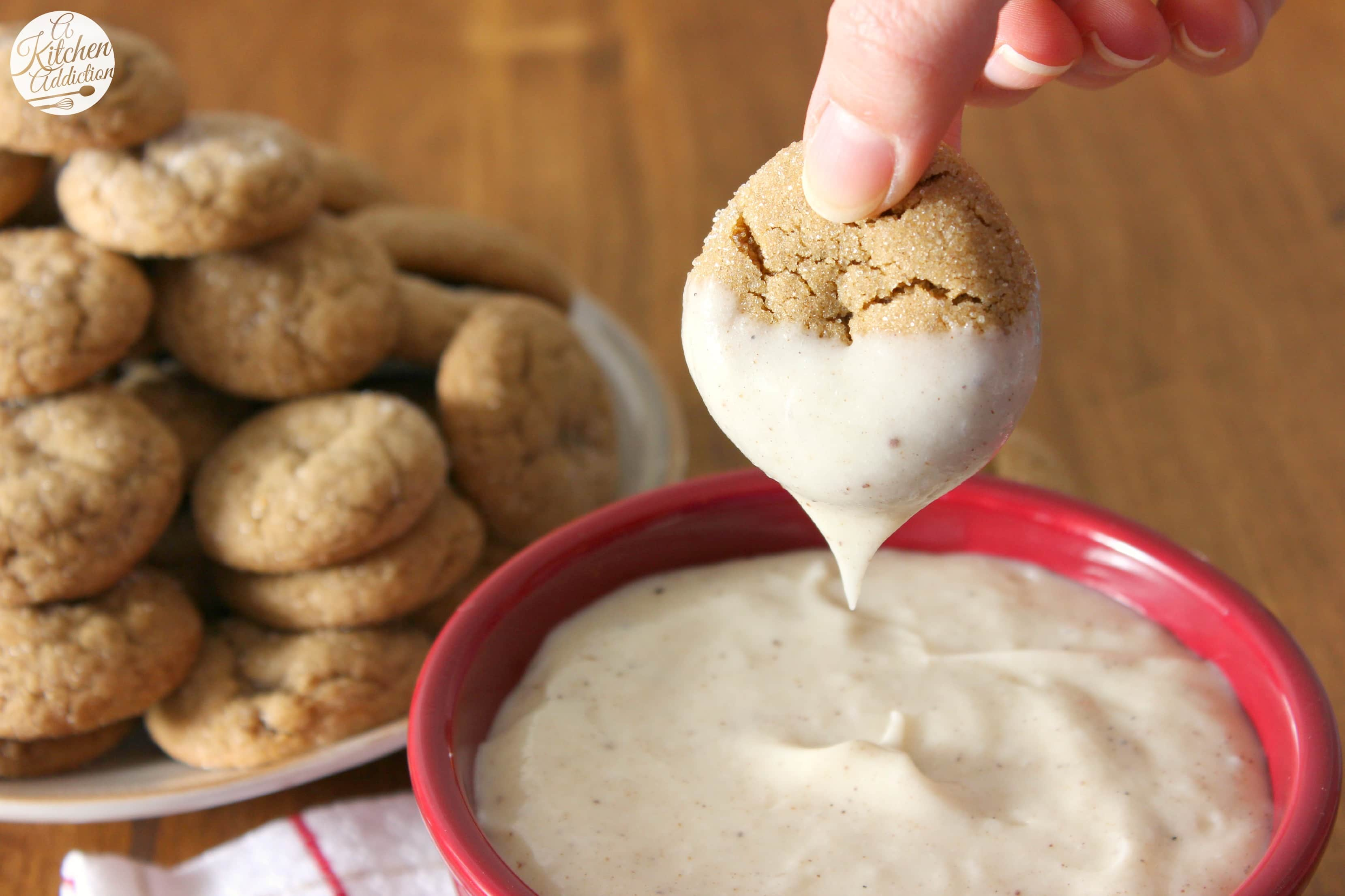 Soft Baked Ginger Cookies With Eggnog Cheesecake Dip A Kitchen