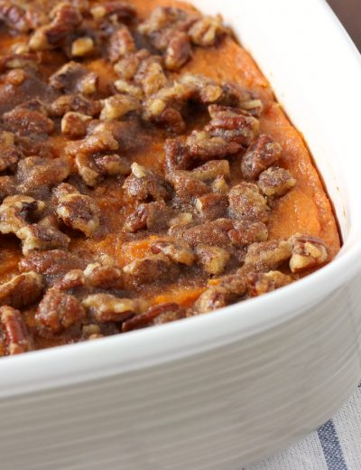 Lighter Maple Pecan Sweet Potatoes