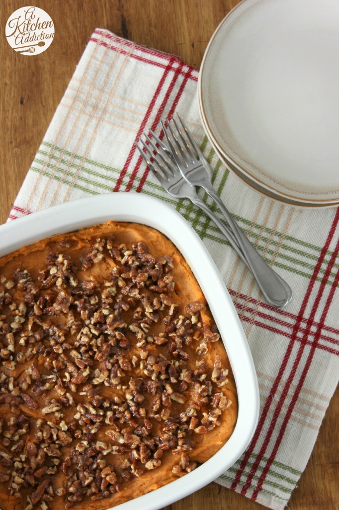 Lighter Maple Pecan Sweet Potatoes Recipe l www.a-kitchen-addiction.com