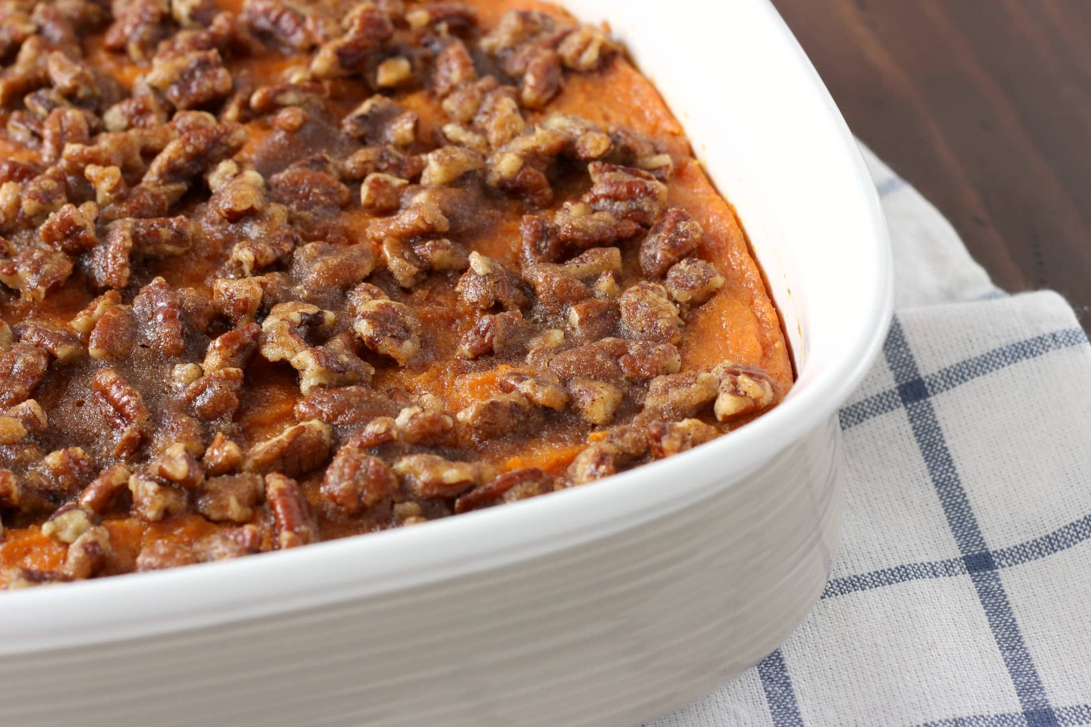 Lightened Up Maple Pecan Sweet Potatoes Recipe from A Kitchen Addiction