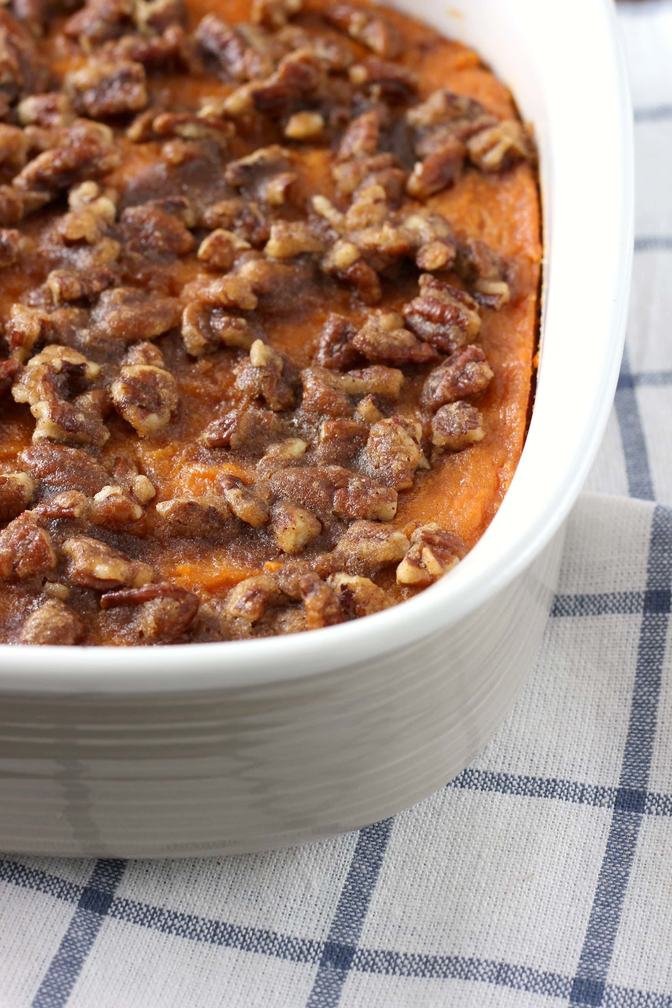 Lighter Maple Pecan Sweet Potatoes Recipe from A Kitchen Addiction