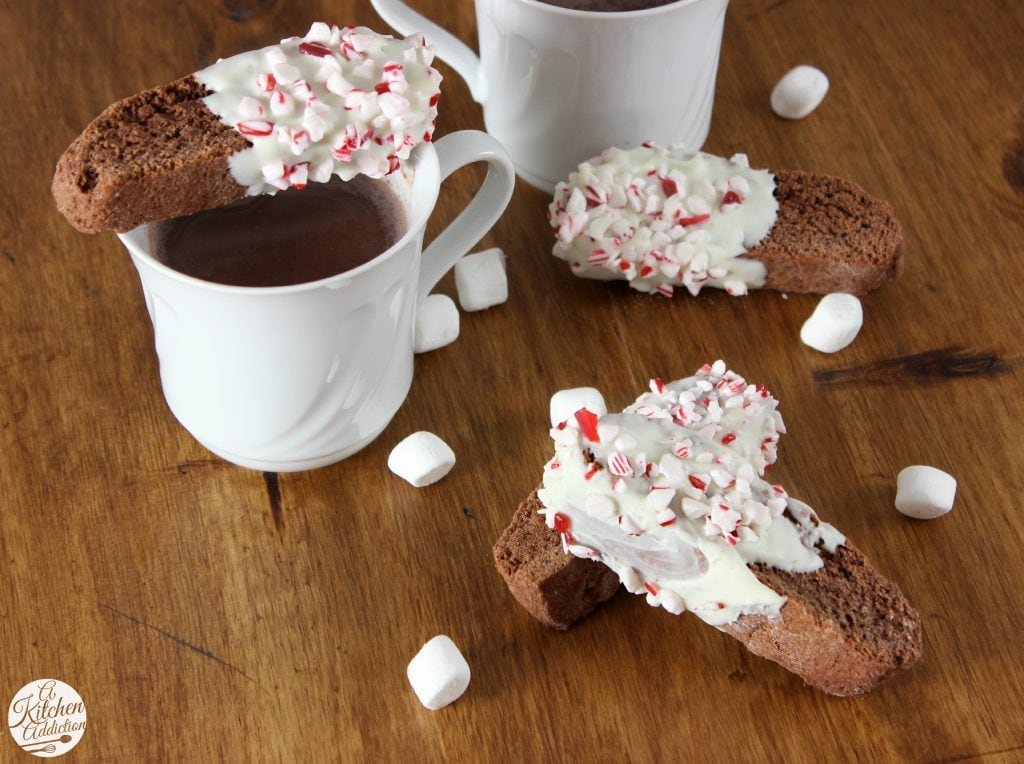 Peppermint Hot Chocolate Biscotti Recipe l www.a-kitchen-addiction.com