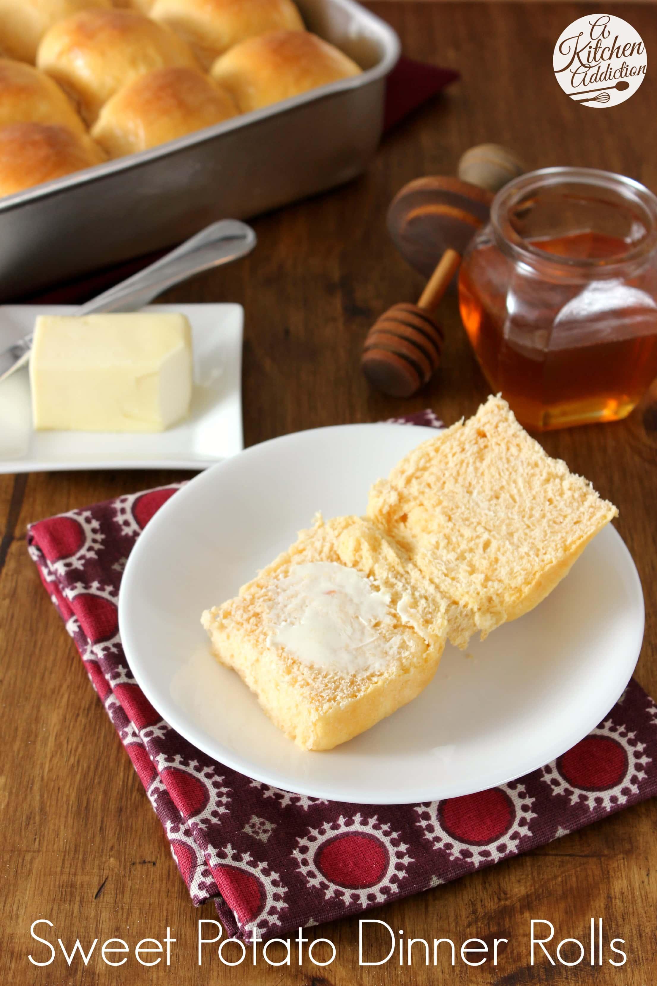 Sweet Potato Dinner Rolls with Honey Butter Glaze l www.a-kitchen ...