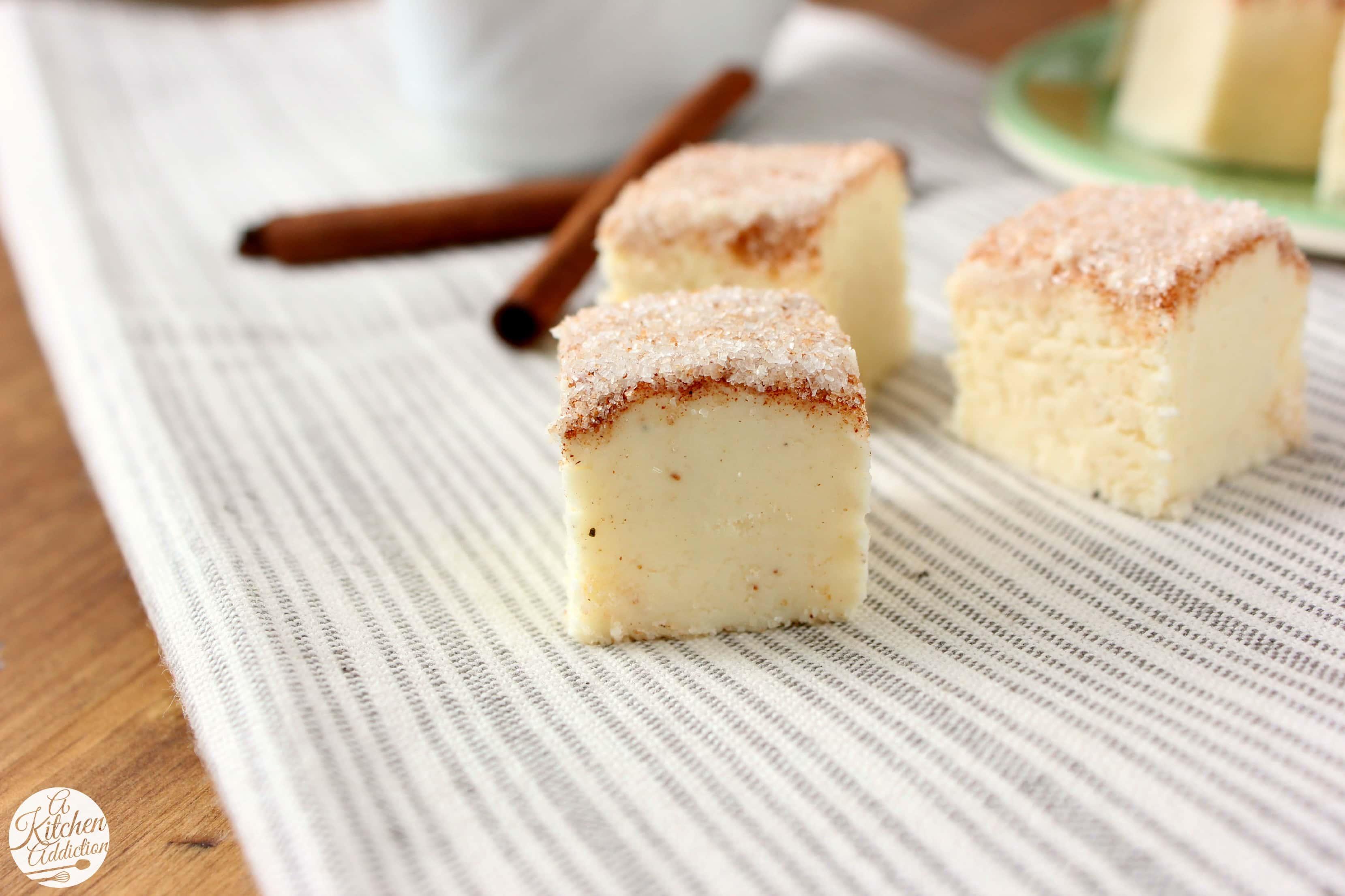 Eggnog Snickerdoodle Fudge Recipe l www.a-kitchen-addiction.com