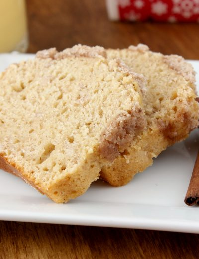 Eggnog Streusel Bread Recipe l www.a-kitchen-addiction.com