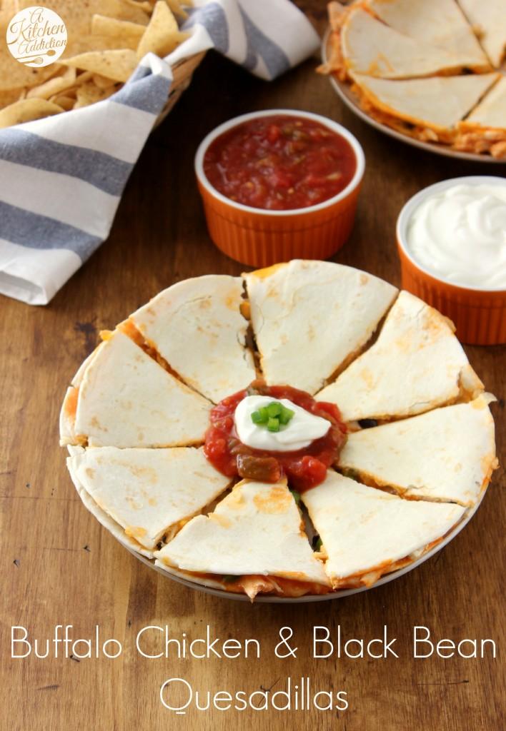Buffalo Chicken and Black Bean Quesadillas Recipe l www.a-kitchen-addiction.com