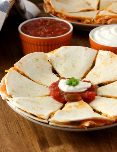 Buffalo Chicken and Black Bean Quesadillas Recipe l www.a-kitchen-addiction.com