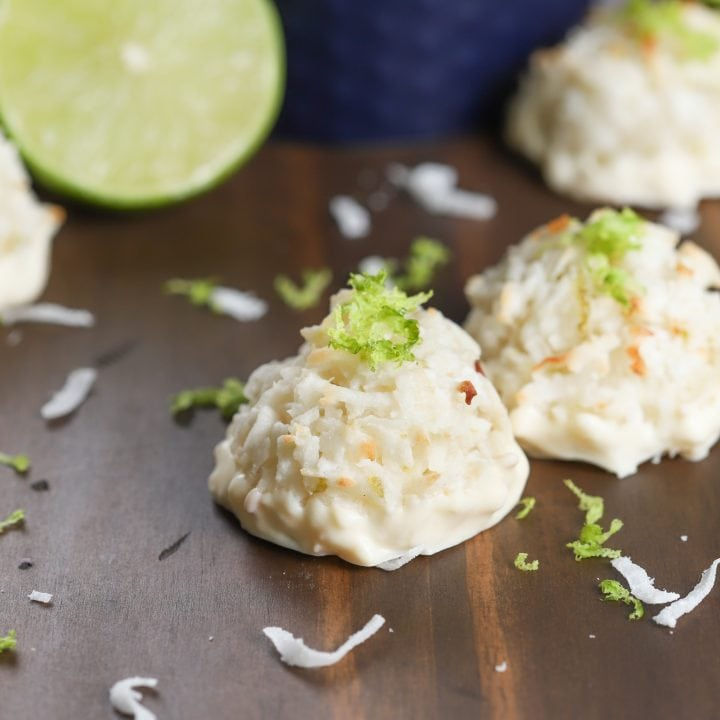 White Chocolate Dipped Coconut Lime Macaroons Recipe from A Kitchen Addiction