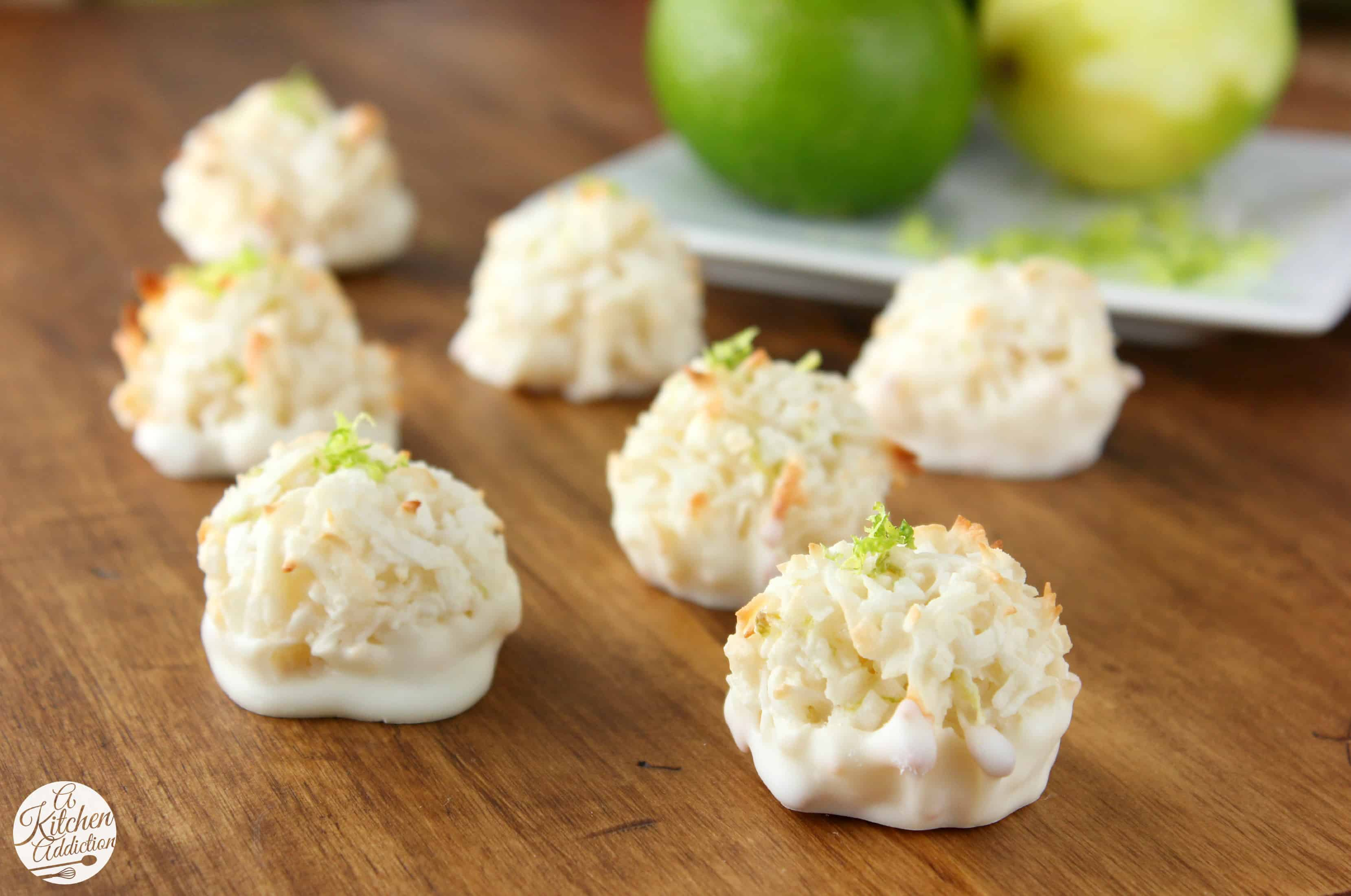 These coconut lime macaroons did the trick! Dip them in white ...
