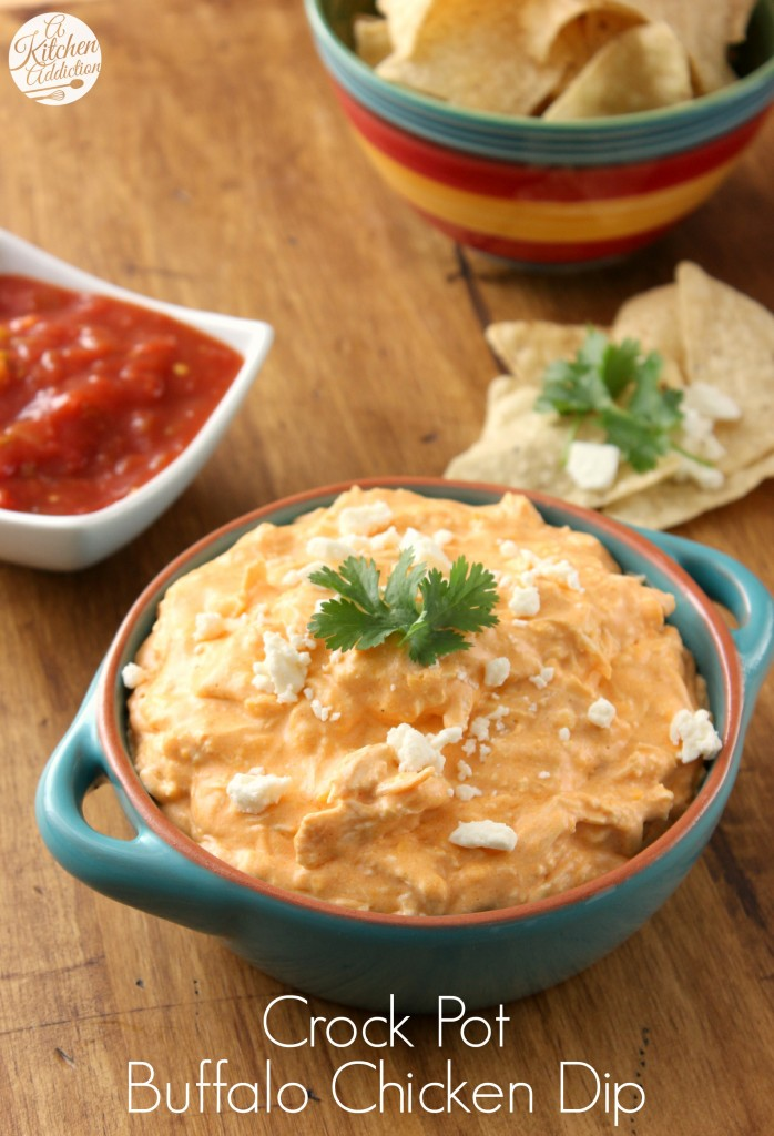 Crock Pot Buffalo Chicken Dip Recipe l www.a-kitchen-addiction.com