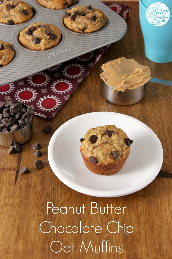 Peanut Butter Chocolate Chip Oat Muffins Recipe l www.a-kitchen ...