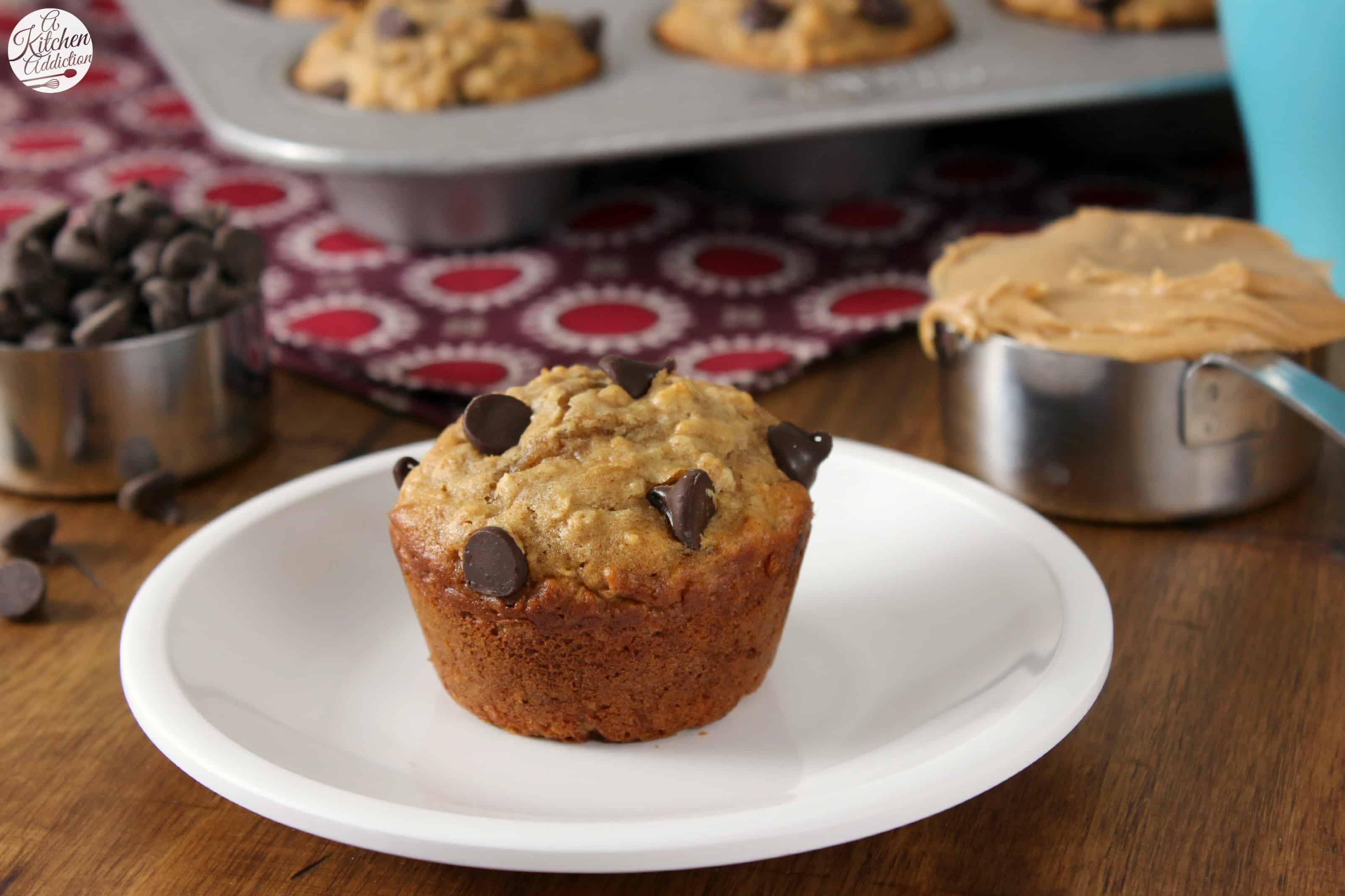 The best part? These peanut butter chocolate chip oat muffins don't ...
