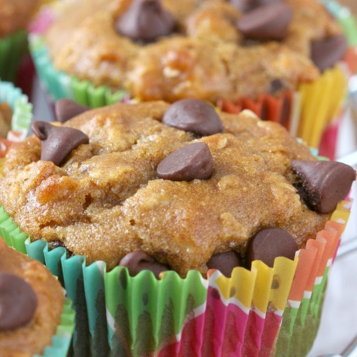 Peanut Butter Chocolate Chip Oat Muffins