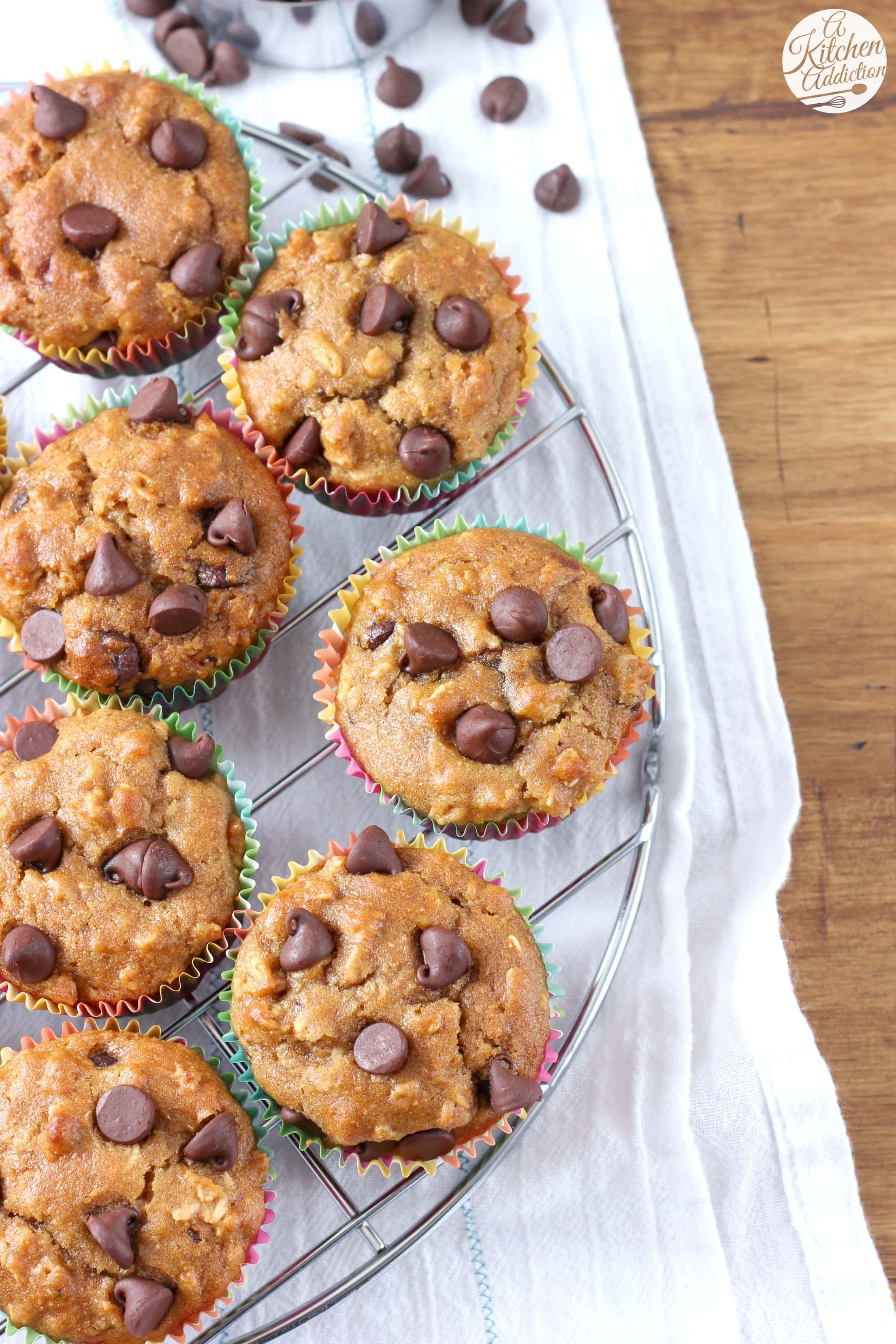 Peanut Butter Chocolate Chip Oat Muffins Recipe from A Kitchen Addiction