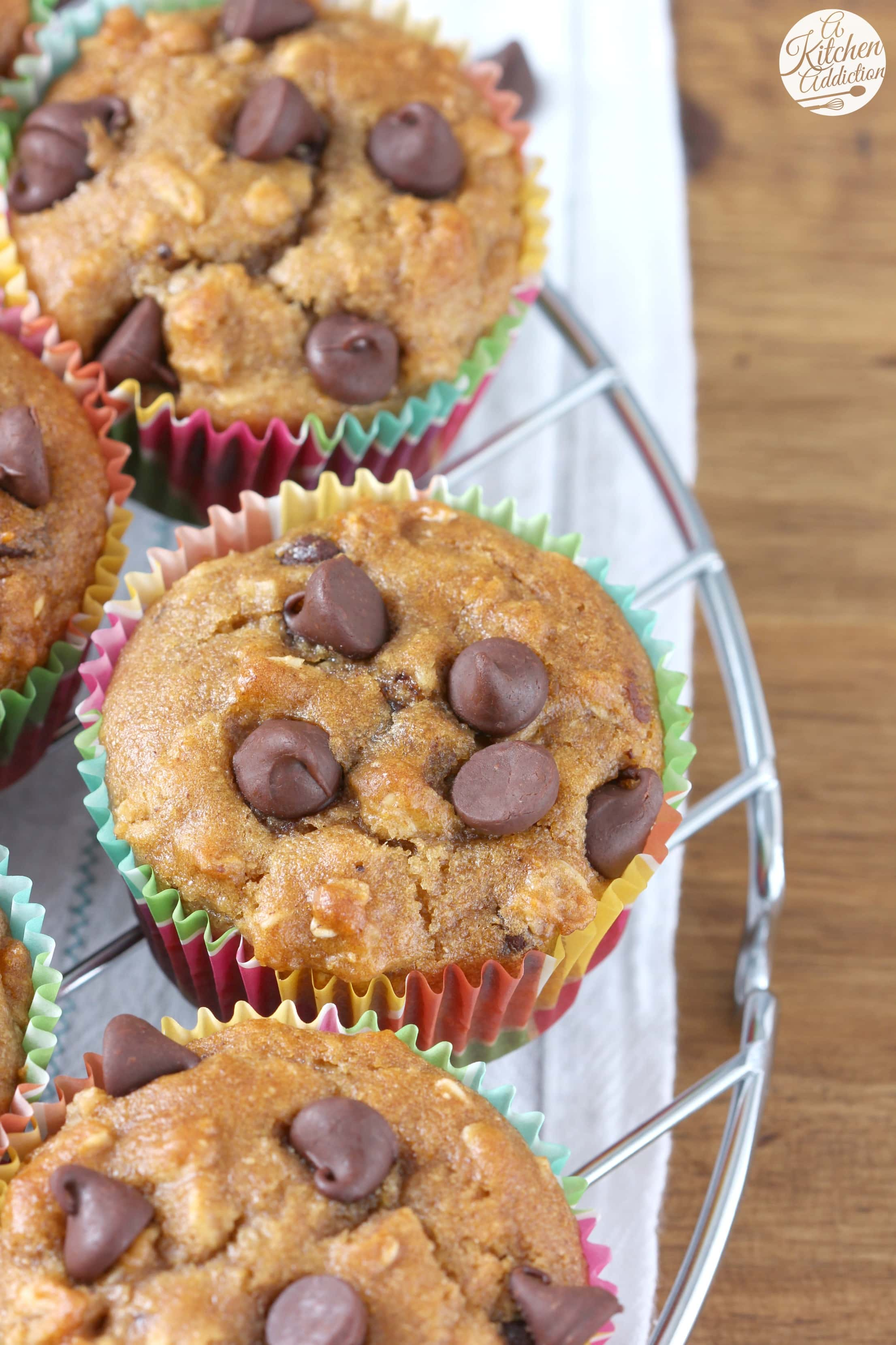 Healthier Peanut Butter Chocolate Chip Oat Muffins Recipe from A Kitchen Addiction
