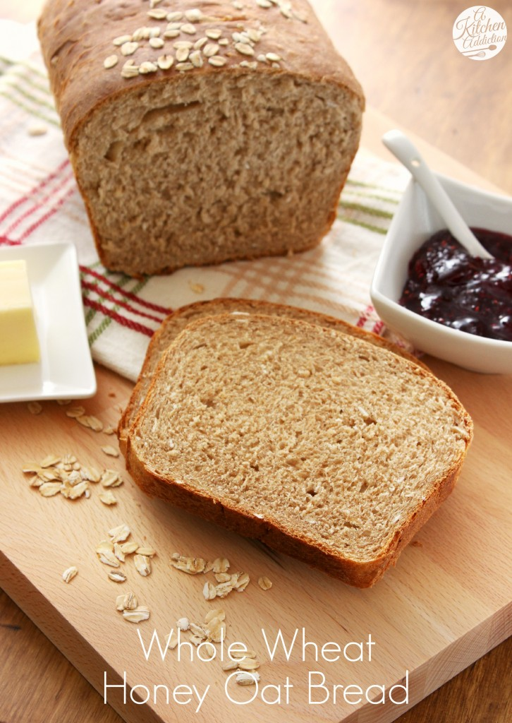 Whole Wheat Honey Oat Bread Recipe l www.a-kitchen-addiction.com