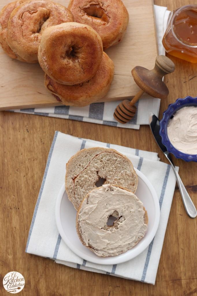 Cinnamon Swirl Bagels with Whipped Honey Cinnamon Cream Cheese Recipe l www.a-kitchen-addiction.com