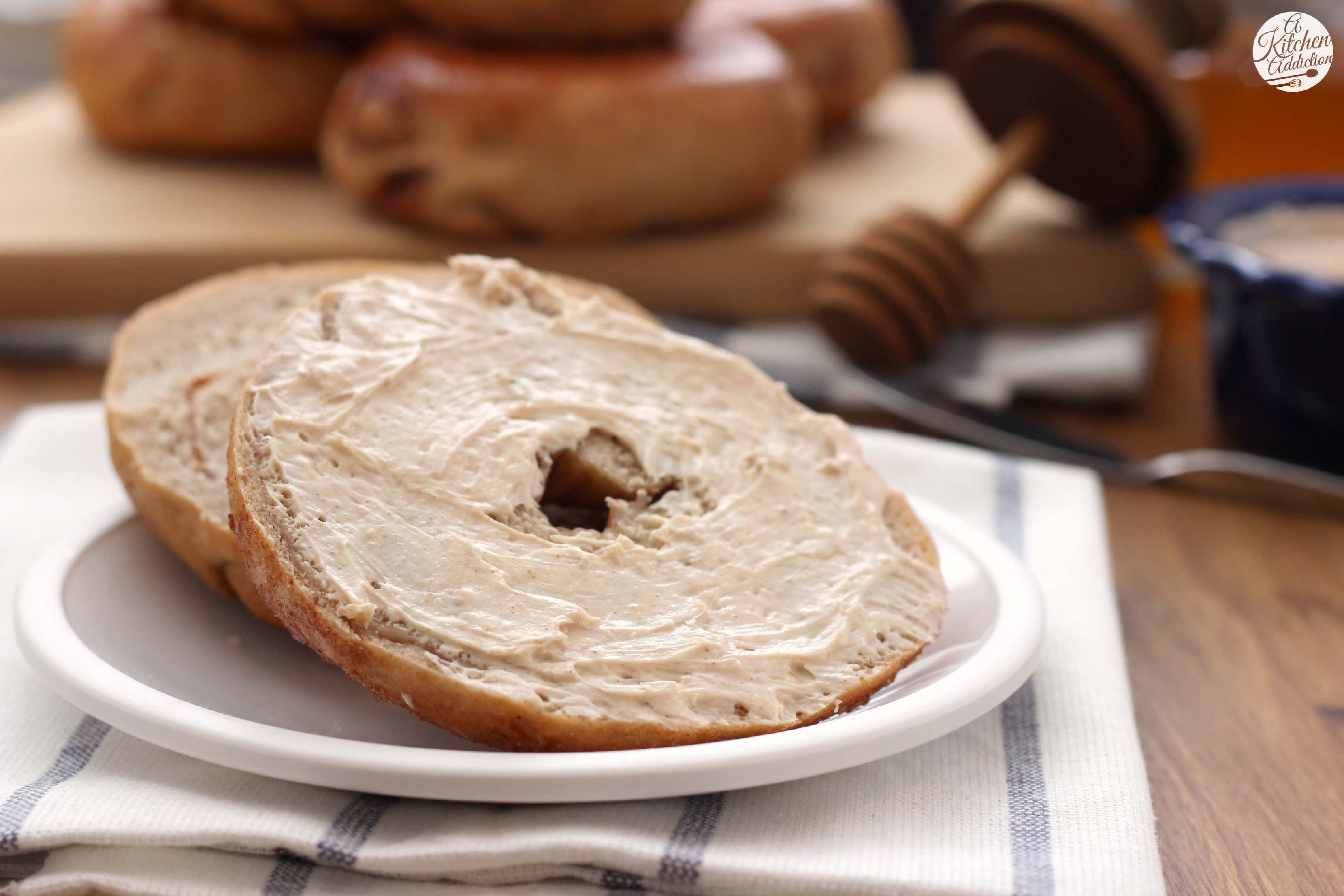 Cinnamon Sugar Bagels {with Whipped Honey Cinnamon Cream