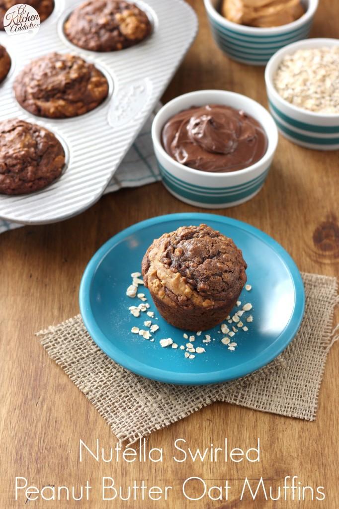Nutella Swirled Peanut Butter Oat Muffins Recipe l www.a-kitchen-addiction.com
