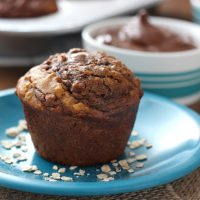 Nutella Swirled Peanut Butter Oat Muffins