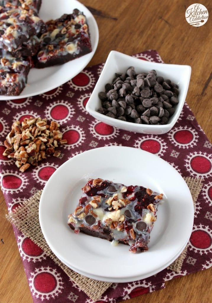 Raspberry Brownie Magic Bars Recipe l www.a-kitchen-addiction.com
