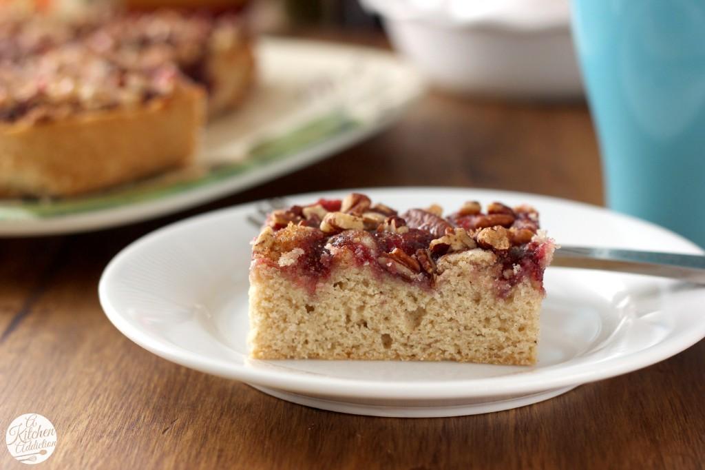 Raspberry Pecan Breakfast Cake Recipe l www.a-kitchen-addiction.com