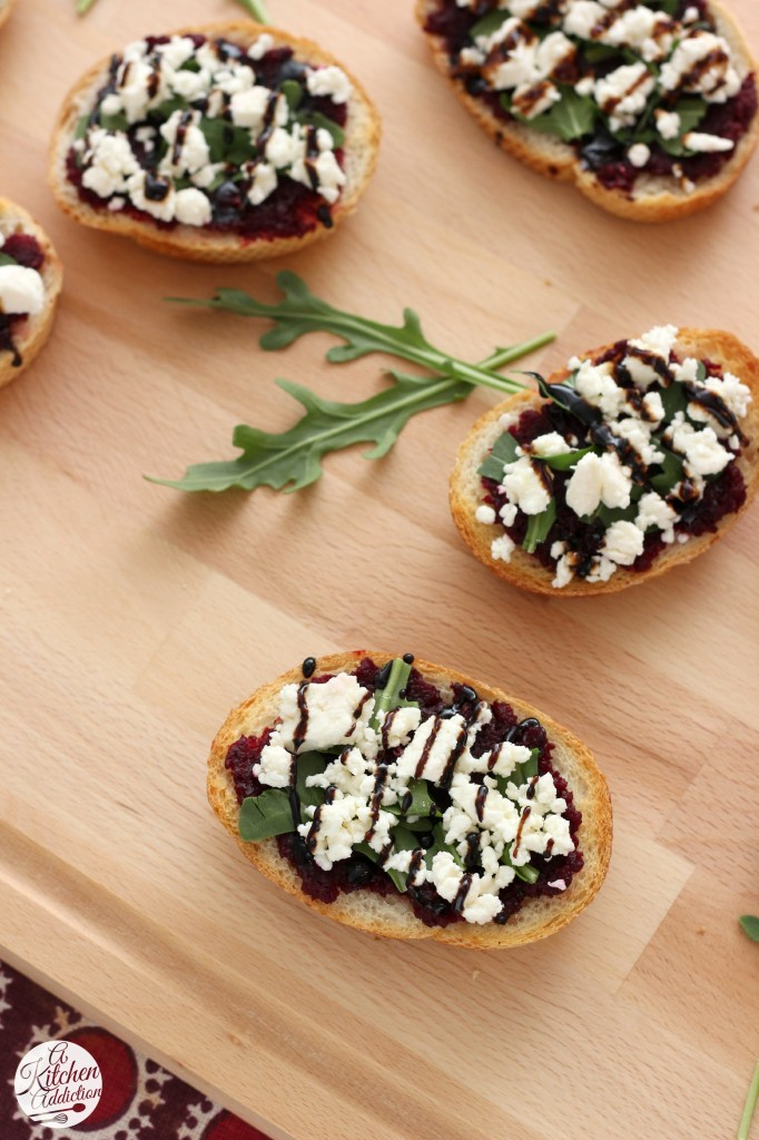 Roasted Beet, Arugula & Feta Crostini Recipe l www.a-kitchen-addiction.com