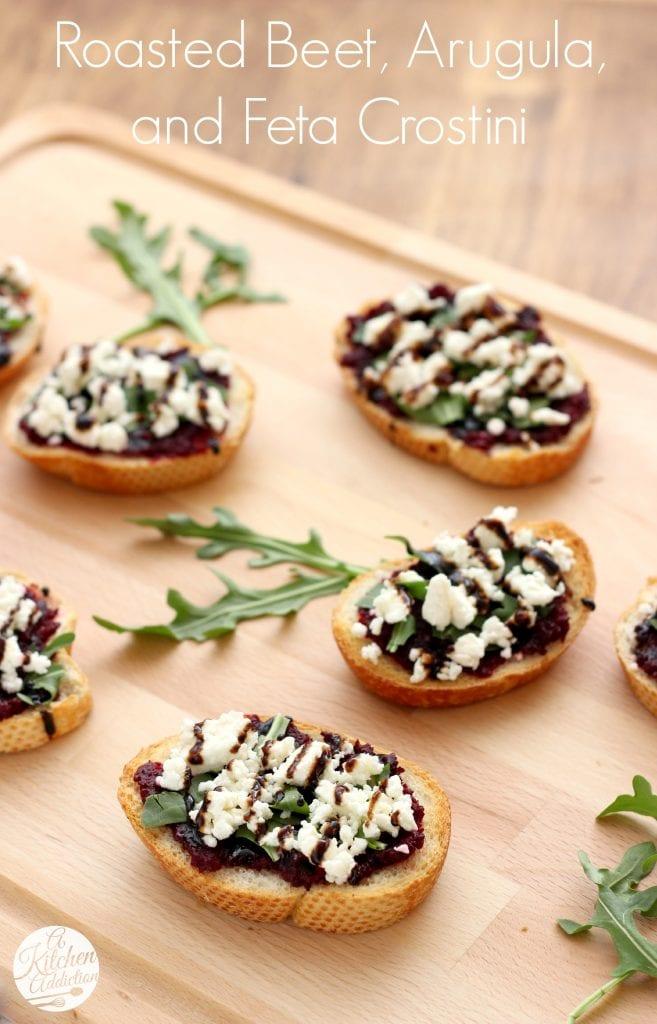 Roasted Beet, Arugula & Feta Crostini Recipe l www.a-kitchen-addiction.com