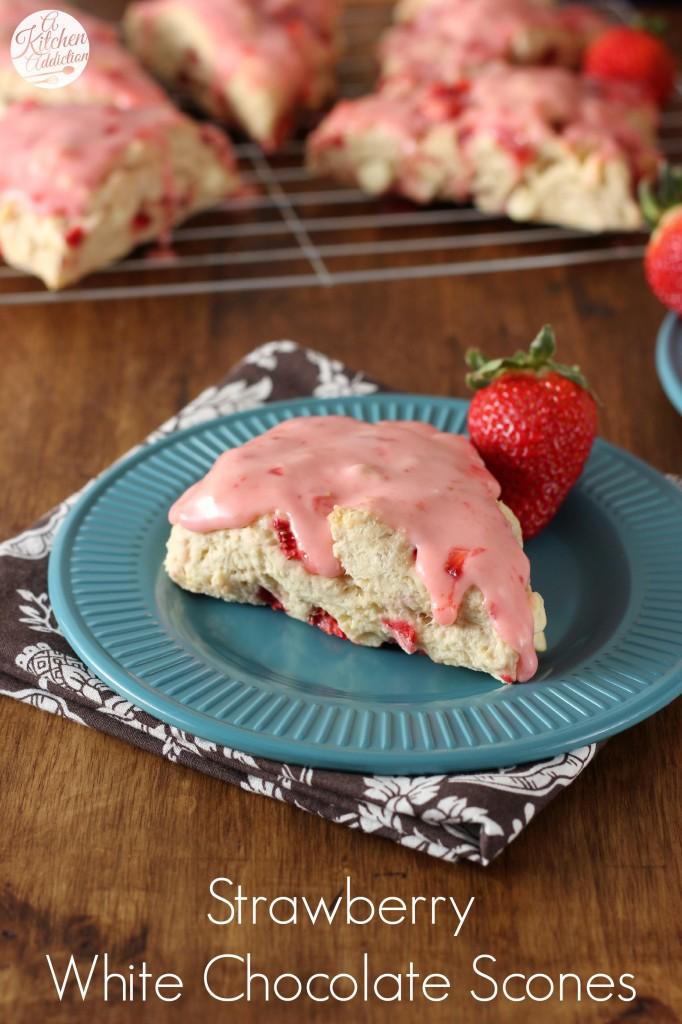 Strawberry White Chocolate Scones Recipe l www.a-kitchen-addiction.com