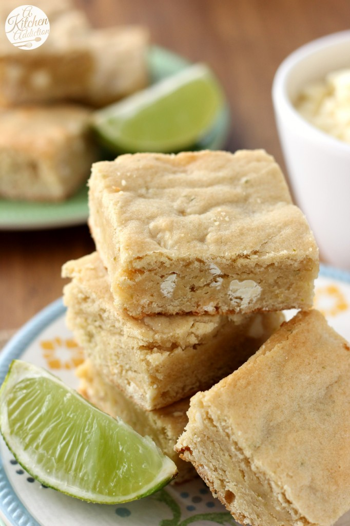 White Chocolate and Lime Blondies Recipe l www.a-kitchen-addiction.com