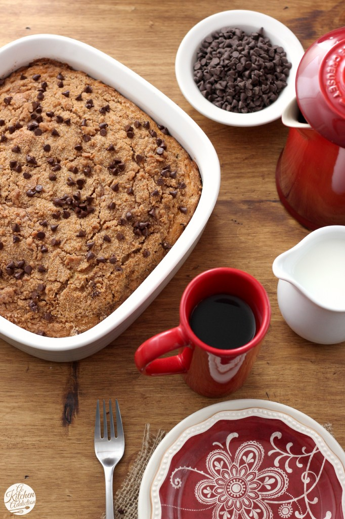Chocolate Chip Coffee Cake Recipe l www.a-kitchen-addiction.com